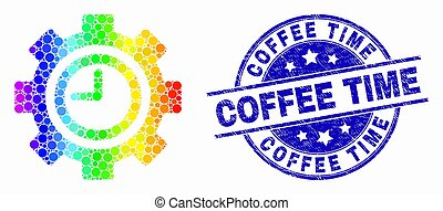 Vector Bright Pixelated Clock Settings Gear Icon and Grunge Coffee Time Watermark