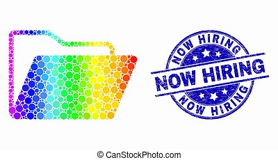 Vector Bright Pixelated Folder Icon and Grunge Now Hiring Stamp