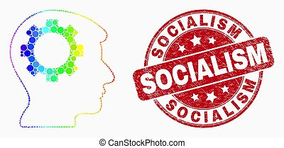 Vector Bright Pixelated Gear Thinking Head Icon and Grunge Socialism Stamp Seal