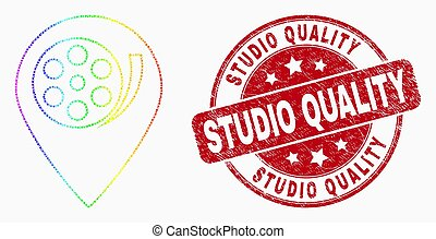 Vector Bright Pixelated Movie Map Marker Icon and Grunge Studio Quality Stamp