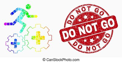 Vector Bright Pixelated Patient Run Over Gears Icon and Scratched Do Not Go Watermark