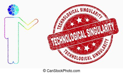 Vector Bright Pixelated Person Show Icon and Scratched Technological Singularity Stamp