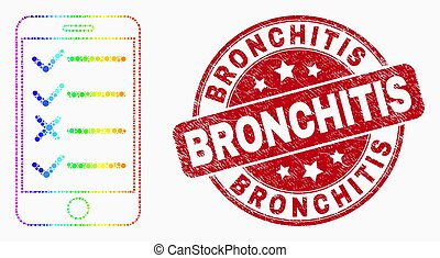 Vector Bright Pixelated Smartphone Task List Icon and Scratched Bronchitis Seal