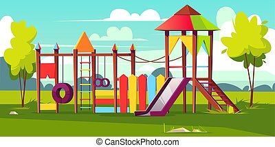 Vector bright playground for children at park