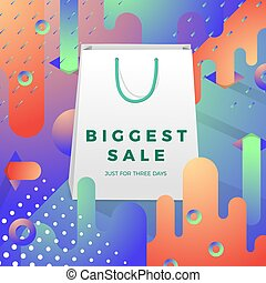 Vector bright realistic bag with green handle