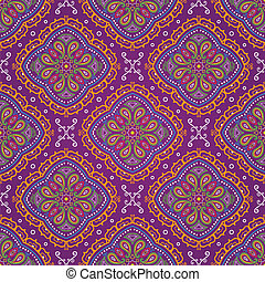 Vector bright seamless indian pattern, paisley on purple