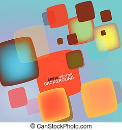 Vector bright squares with round corners white background