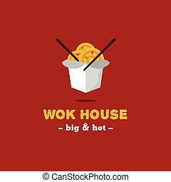Vector bright wok box chineese cafe logo. Brand sign -...