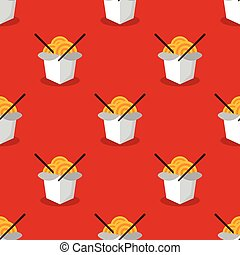 Vector bright wok box chineese seamless pattern - Vector...