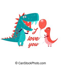 Vector brightly amorous dinosaur enamored on a white ...