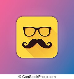vector, bril, mustache, pictogram