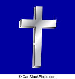 vector, brillante, cruz, ilustración