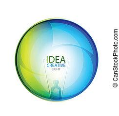 vector, brillante, idea, burbuja