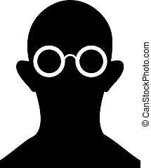 vector, -, brillen, silhouette, persoon