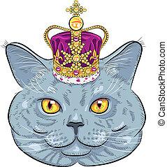 vector British cat  in gold crown