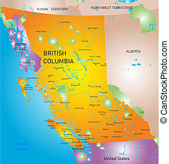 british columbia province map - vector british columbia...