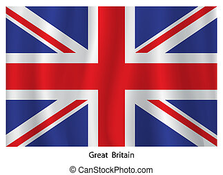 British flag - Vector British flag with title on the white...