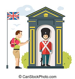 Vector British guardsman and tourist. Flat style colorful...