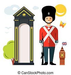Vector British guardsman. Flat style colorful Cartoon illustration.