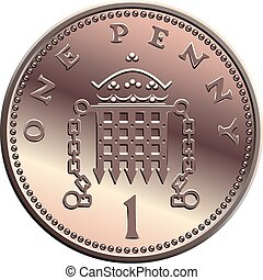 vector British money, coin one penny