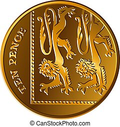 Vector British money gold coin 10 pence