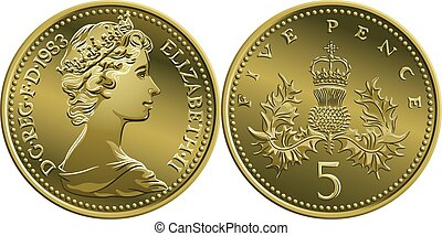 Vector British money gold coin 5 pence