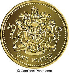 Vector British money gold coin one pound with the coat of...