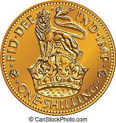Vector British money gold coin shilling with crown ahd lion