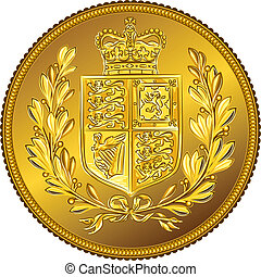Vector British money gold coin Sovereign with the coat of...