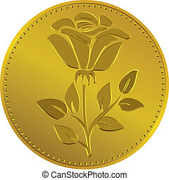 Vector British money gold coin with the rose flower