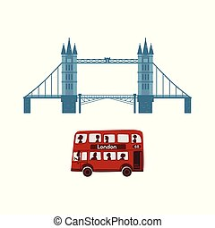 vector british symbols icon set - vector flat United...