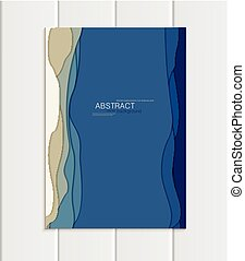 Vector brochure A5 or A4 format abstract uneven blue shapes...