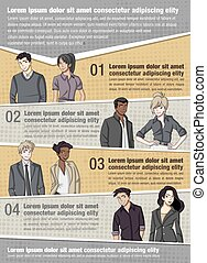 Vector brochure backgrounds with business people.