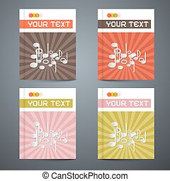 Vector Brochure Cover Design Template Set with Note - Music Illustration