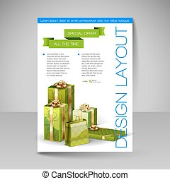 Vector Brochure Design Template with green Christmas Gifts.
