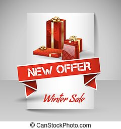 Vector Brochure Design Template with Red Christmas Gifts.