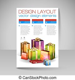 Vector Brochure Design Template with blue Christmas Gifts.
