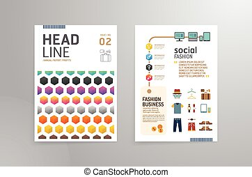Vector brochure, flyer, magazine cover booklet poster design template.layout fashion annual report A4 size.