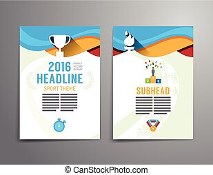 Vector brochure, flyer, magazine cover booklet poster design template.layout sport annual report A4 size.