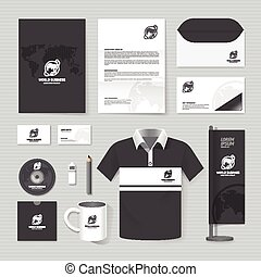 Vector brochure, flyer, magazine, folder, t-shirt, cover booklet poster mockup design template/ layout world business stationery annual report A4 size/ set of corporate identity template.