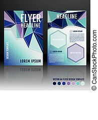 Vector brochure flyer template design with geometric triangular elements.