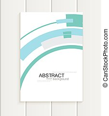 Vector brochure in abstract style with turquoise shapes on...