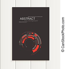 Vector brochure in abstract style with red shapes on dark...
