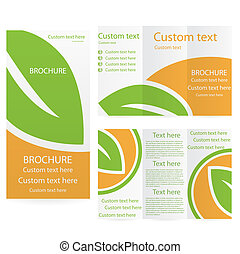 Vector Brochure Layout Design Template green orange...
