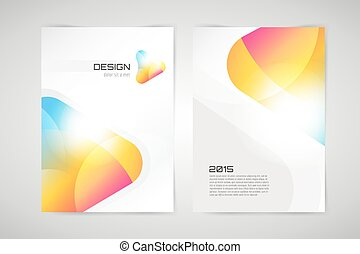 Vector brochure template. Abstract arrow design and creative identity idea, blank, paper. Stock illustration. Isolated on white background