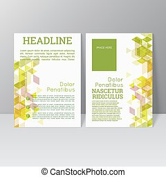 Vector brochure template design with triangles, icons and ...