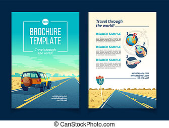 Vector brochure template with tourist concept, traveling -...