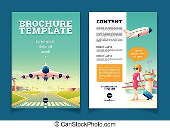 Vector brochure with airplane takeoff, tourism booklet