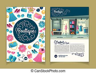 Vector brochures with girls boutique, cartoon booklet