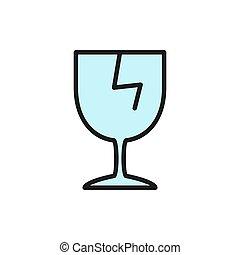 Vector broken glass, fragile delivery flat color line icon.